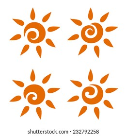 A set of suns orange emblems