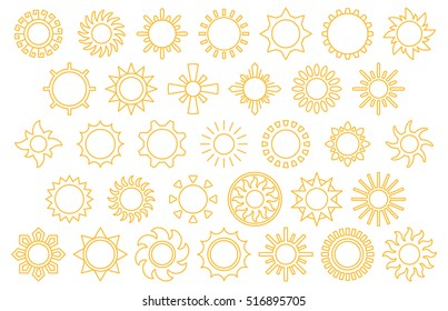 set of SUNS yellow line icons