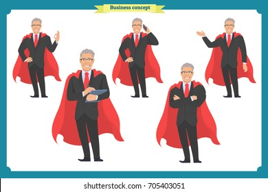 Set of super businessman character, poses, gestures,actions, body elements.Isolated vector on white.Hero man in business suit, standing.Flat-style for design.Business people.Male worker with red cloak
