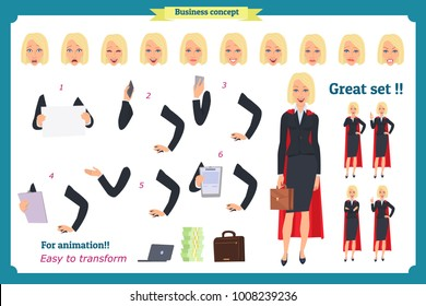 Set of super Businesswoman character design with different poses. Illustration isolated vector on white in flat cartoon style. Women in office clothes. Business superheros people.Flat for animation