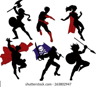 Set of super characters, superheroes, warriors and a pirate in black silhouette