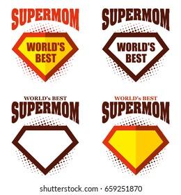 Set Super mom logo superhero World's best