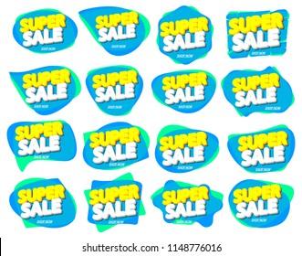 Set Super Sale tags, bubble banners design template, app icons, vector illustration
