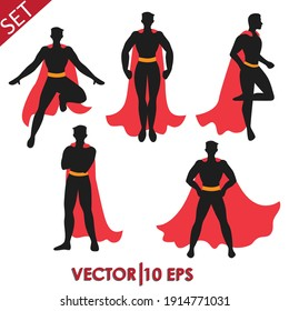 Set of Superhero in 5 Different Poses. Vector Illustration EPS10.