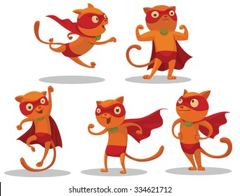 Set of Superhero Cats who looks very brave and can come to help very quickly, vector