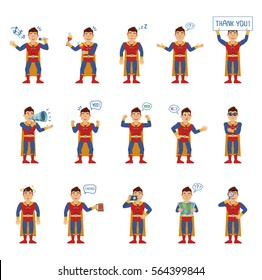 Set of superhero characters showing different actions, gestures, emotions. Cheerful superhuman singing, sleeping, holding loudspeaker, banner and doing other actions. Simple vector illustration