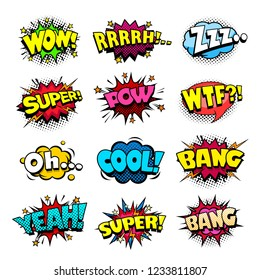 Set of superhero comic book sounds bubble set, cool blast and crash sound effect, halftone print texture imitation