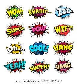 Set of superhero comic book sounds bubble set, cool blast and crash sound effect, halftone print texture imitation