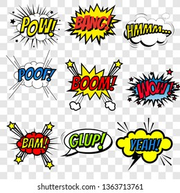 Set of superhero comic book sounds bubble set, cool blast and crash sound effect, halftone print texture imitation design for comic background, Vector illustration EPS10