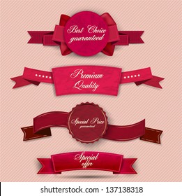 Set of Superior Quality and Satisfaction Guarantee Ribbons, Labels, Tags. Retro vintage style