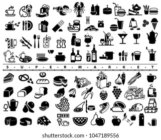 Set of supermarket icons.