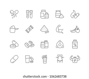 Set of Supplement outline icons isolated on white background.