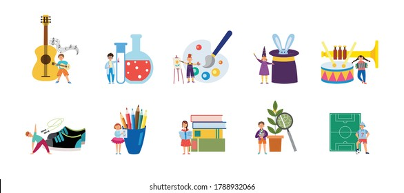 Set of supplies for childrens creative hobbies and outside interests flat vector illustration isolated on white background. Sport and art extracurricular activity icons.
