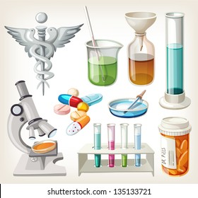 Set of supplies used in pharmacology for preparing medicine.