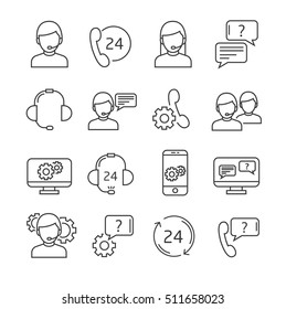 Set of support Related Vector Line Icons. Includes such Icons as operator, headset, handset, dialogue.