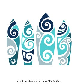 Set of Surf boards. Vector Illustration in the Polynesian style tattoo.