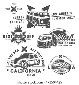 Set of surf car and surfer bus for emblems ,logo and prints and tattoo