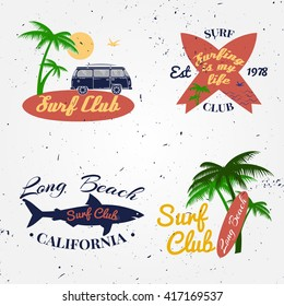 Set of Surf club concept Vector Summer surfing retro badge. Surfer club emblem , rv outdoors banner, vintage background. Boards, retro car, palms and shark. Surf icon design.