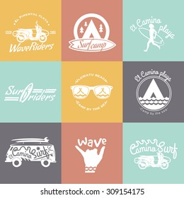 Set of Surf logo and emblem. Surf summer t-shirt design. Surfing, swimming, beach life style.