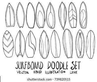 Set of surfboard illustration Hand drawn doodle Sketch line vector