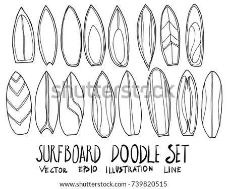 Set Surfboard Illustration Hand Drawn Doodle Stock Vector Royalty
