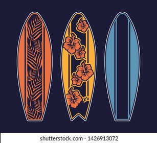 Set surfboard print design for surfing ride or decor. Sport vacation on ocean sea holiday vintage hipster old school cartoon illustration extreme sport on big wave California Hawaii Malibu Long Beach.