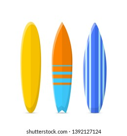 Set of surfboards. Classic types of surfboards with a pattern. Vector illustration isolated on a white background