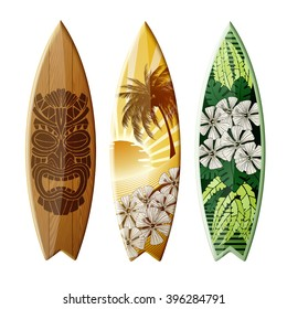 Set of surfboards with original design, EPS 10 contains transparency.