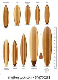 Set of surfboards with wooden texture, EPS 10 contains transparency