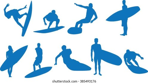 Set of surfer silhouette
