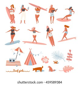 Set of surfers  on the beach. Cartoon flat people in vector.
