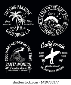 Set of surfing and summer theme vector badges for t-shirt prints and other uses.