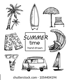 Set of surfing. Vector of sketches. Summer. graphic elements. hand drawn