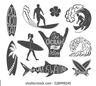 Set of surfing vintage design elements. Surf logo vector illustration. Surfboard logotypes. Retro style. Sea