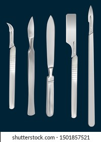 Set of surgical cutting tools. Reusable all-metal scalpel, scalpels with removable blades, Liston's amputation knife, scalpel with a blade for skin transplantation. Vector illustration.