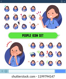 A set of Surgical Doctor women with expresses various emotions on the SNS screen.There are variations of emotions such as joy and sadness.It's vector art so it's easy to edit.
