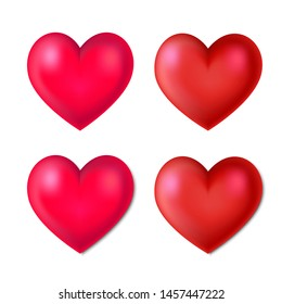 Set of surround realistic hearts with and without shadow. Vector illustration.