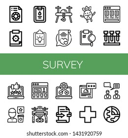 Set of survey icons such as Printing test, Clipboard, Drone, Vows, Happy, Price list, Test, Feedback, Review, Testimonial, Testing, Rating, Cross, Geology , survey