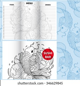 Set of sushi bar menu with fish in line-art style. Concept for cafe, sushi bar, sea food, flyer, banner design.