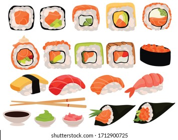 Set of sushi. Collection of various delicious rolls and appliances for eating chopsticks, bowls with wasabi, ginger, etc. Restaurant food. Colorful illustration for the children.