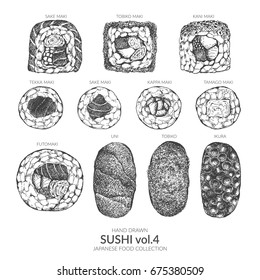 Set of sushi. Hand drawn top view with ink and pen. Vintage black and white illustration. Japanese food vector element.