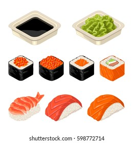 Set Sushi roll and nigiri, wasabi and soy sause . Isolated on white background. Vector flat color illustration. For icon and menu