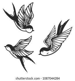 Set of swallow birds on white background. Design elements for logo, label, emblem, sign. Vector image