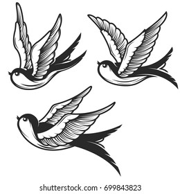 Set of swallow illustrations isolated on white background. Design elements for emblem, sign, badge, t shirt. Vector illustration