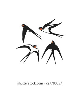 Set Swallows. Vector illustration