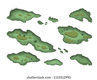 Set of swamps in isometric style. Isolated image of forest marsh. 3d landscape with cartoon fens. Vector illustration