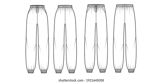 Set of Sweatpants technical fashion illustration with elastic cuffs, normal low waist, high rise, full length, drawstrings. Flat training apparel template front, back white color. Women men CAD mockup