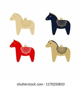 Set of swedish Dala Horses on white background