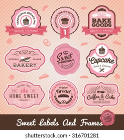 Set of sweet bakery and bread labels design for sweets shop, cake, restaurant, bake shop. Vector illustration. All types used free commercial font.