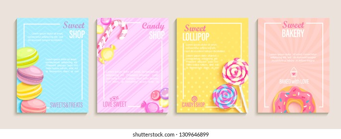 Set of sweet, candy and bakery shops flyers,banners.Collection of pages for kids menu,cafe,posters.Pastry,macaroons and donuts, lollipop shop cards, cafeteria advertisement.Template vector illustration.